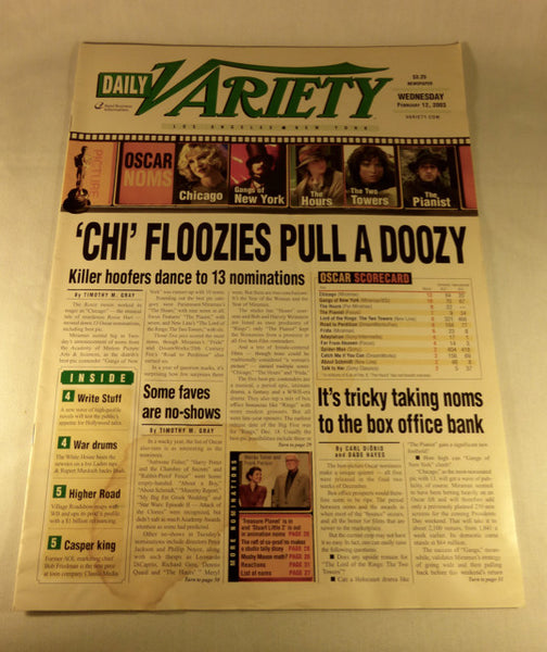"Variety Magazine, "" Chi' Floozies Pull a Doozy""  Feb. 12, 2003"