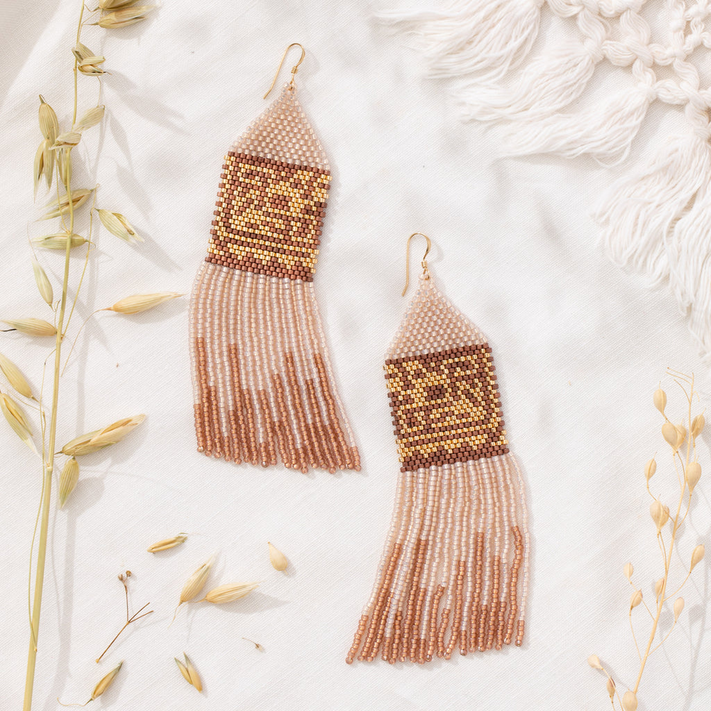 Beaded Boho Fringe Earrings by CASADEMIAN