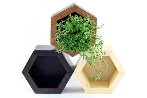 WOODEN HEXAGON STORAGE COMPARTMENT BY RETROSPECT DESIGNS