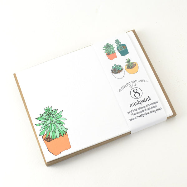 "Notecard Set of 8 ""Succulents"" with Envelopes by MISTPRINT"