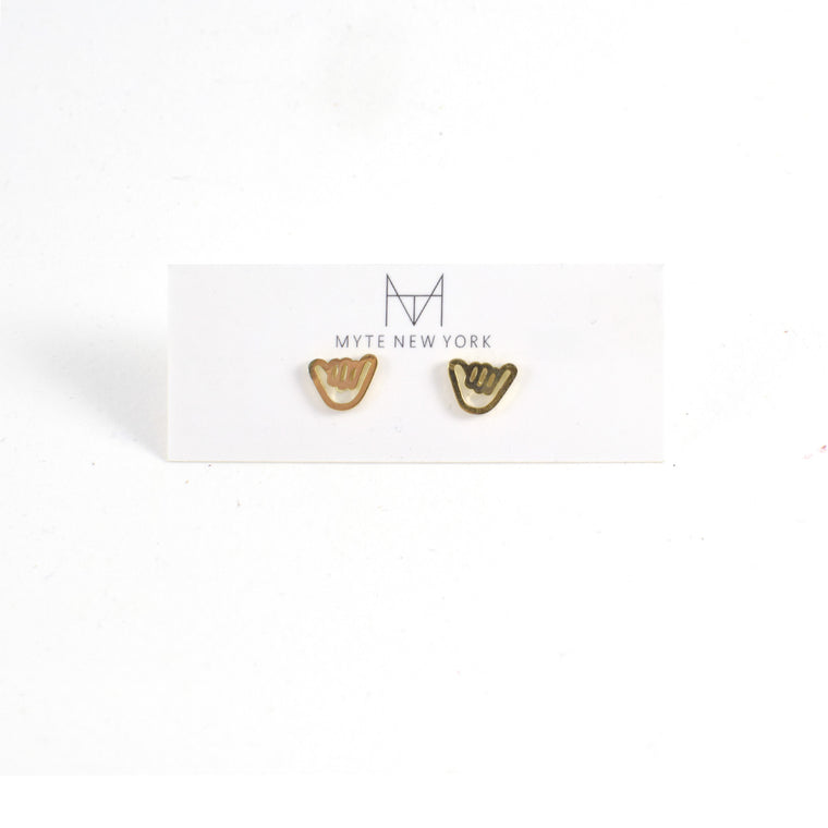 Shaka Stud Earrings in Gold