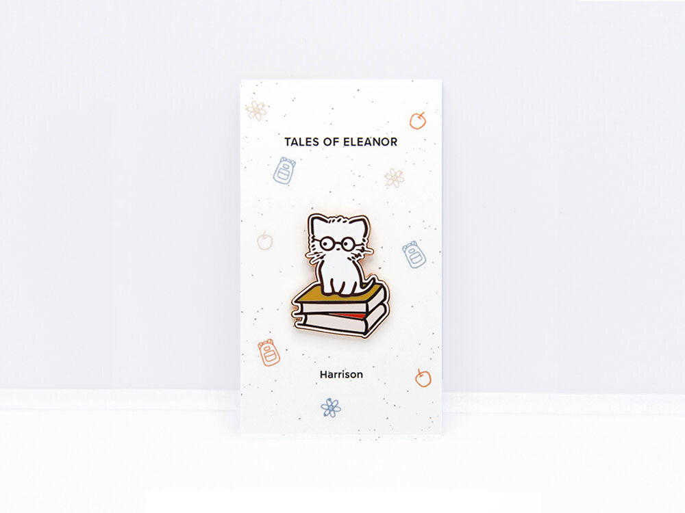 Harrison Cat with Glasses Enamel Pin