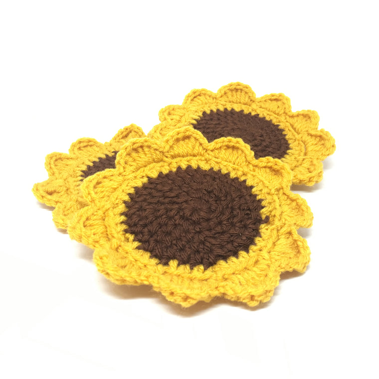Knitted Sunflower Coasters