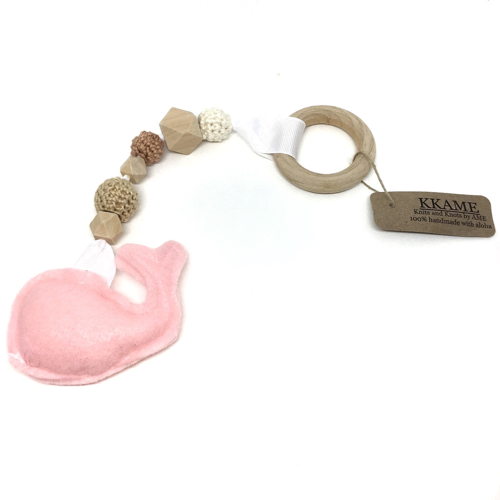 Whale Baby Teether with Wood Beads