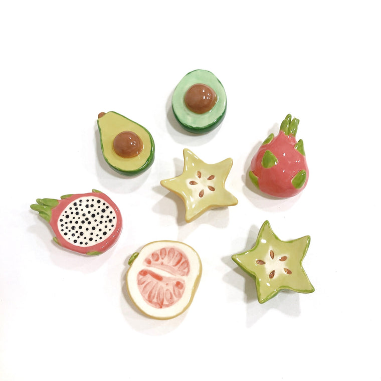 Various Fruit Ceramic Magnets by Beachcake