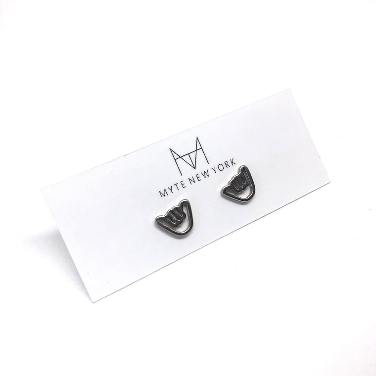 Shaka Stud Earrings in Silver