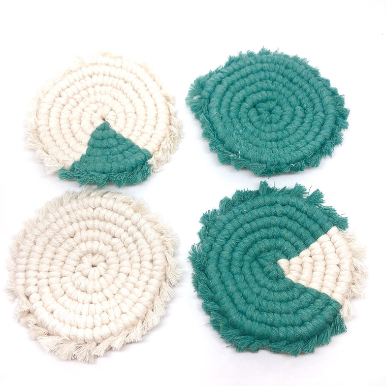 TWO-TONED ROUND FRINGE COASTERS