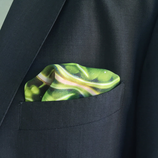 Green Flower Azulejo Silk Pocket Square