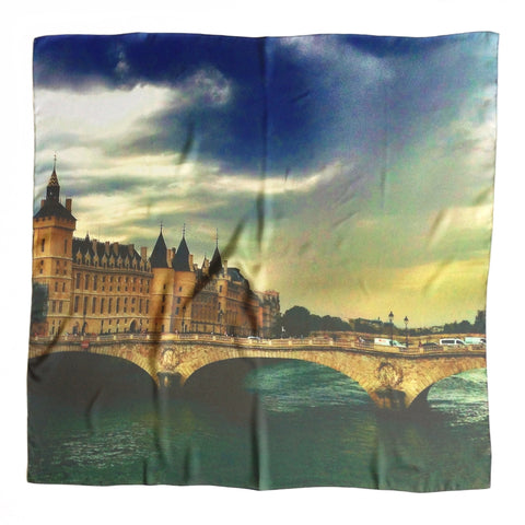Approaching Storm In Paris Silk Scarf