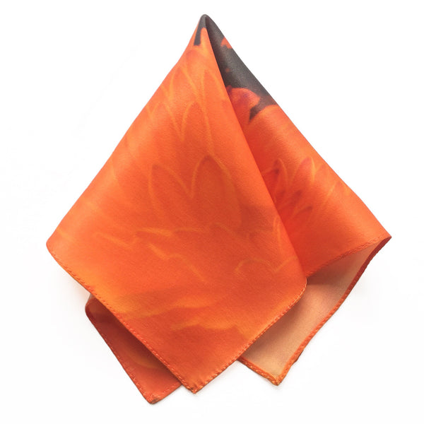 Orange Petals Silk Pocket Square