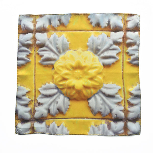 Yellow Azulejo Silk Pocket Square