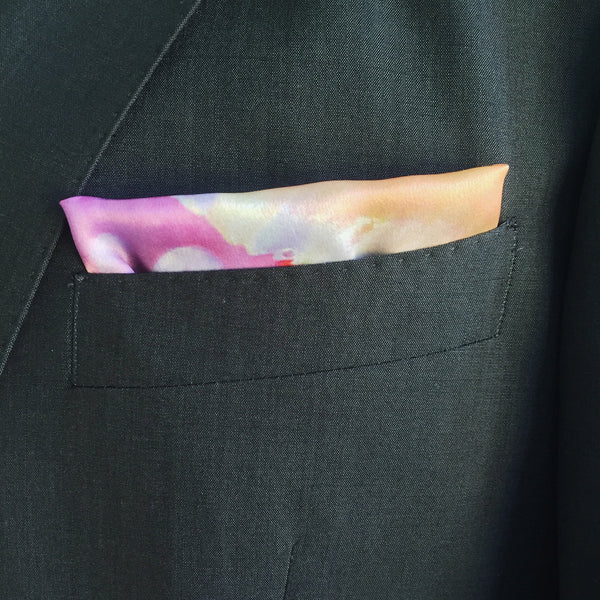 Wet Rose Silk Pocket Square