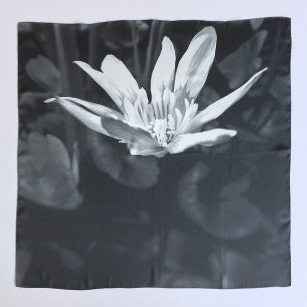 White Flower Contrast Silk Scarf