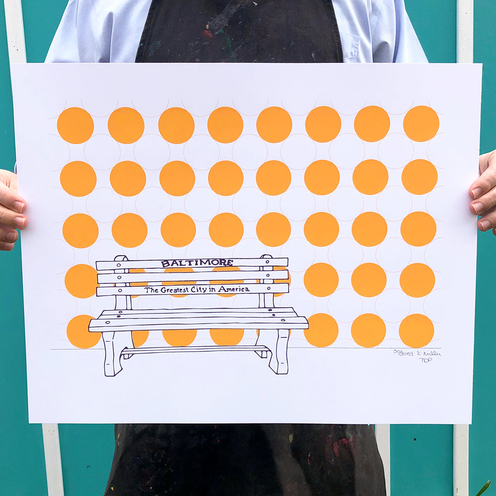 "Baltimore Maryland | Greatest City Bench | Limited Edition Silk Screen 16"" x 20"" poster"