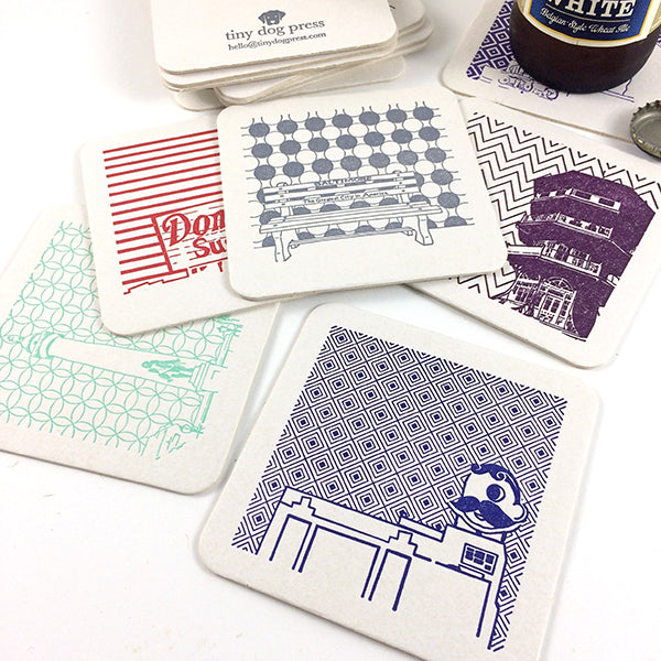 Baltimore Maryland | Icons | Letterpress Coasters Package of 5