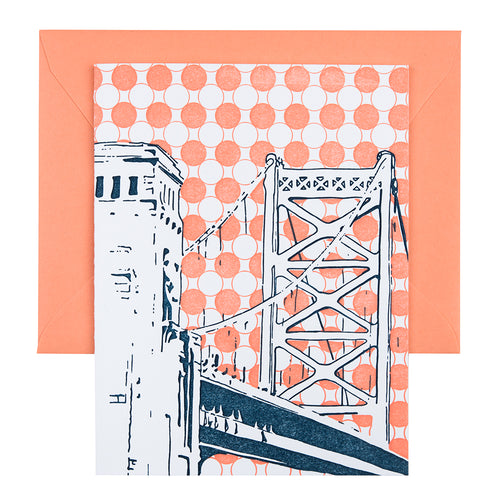 Philadelphia Pennsylvania | Benjamin Franklin Bridge |  Letterpress City Card