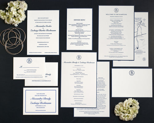 Letterpress Wedding Invitation Suite | Monogram Wedding