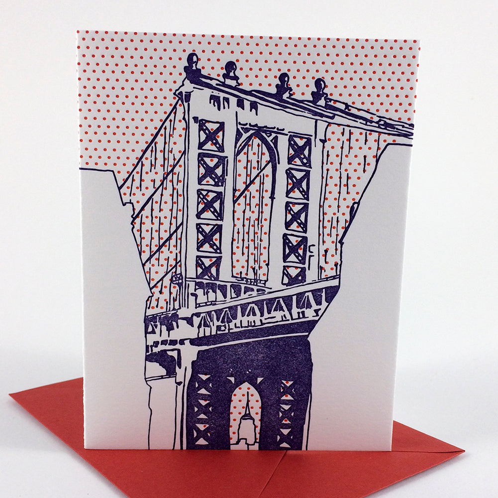 SALE | Brooklyn New York | Manhattan Bridge Dumbo | Letterpess City Card
