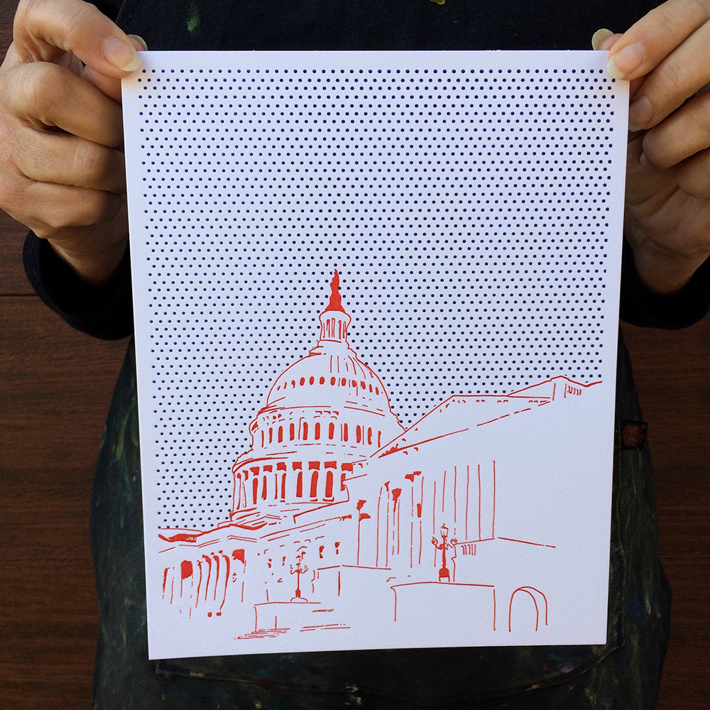 "Washington D.C. | United States Capitol Building | Letterpress 8""x10"" Poster"