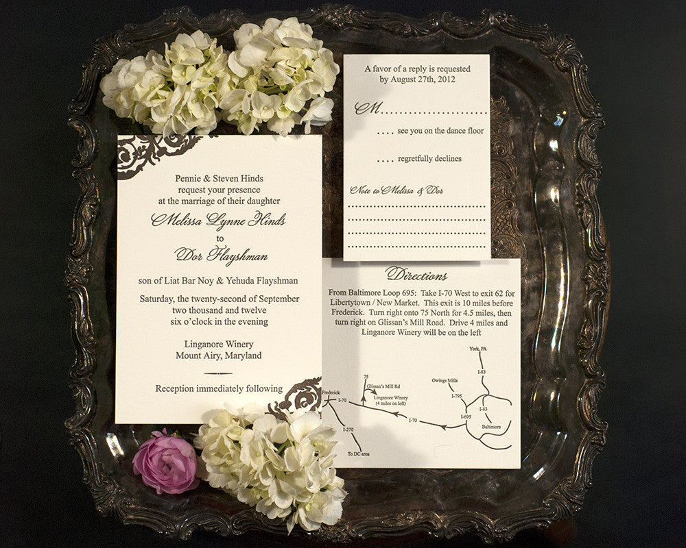 Letterpress Wedding Invitation Suite | Dual Langage Wedding