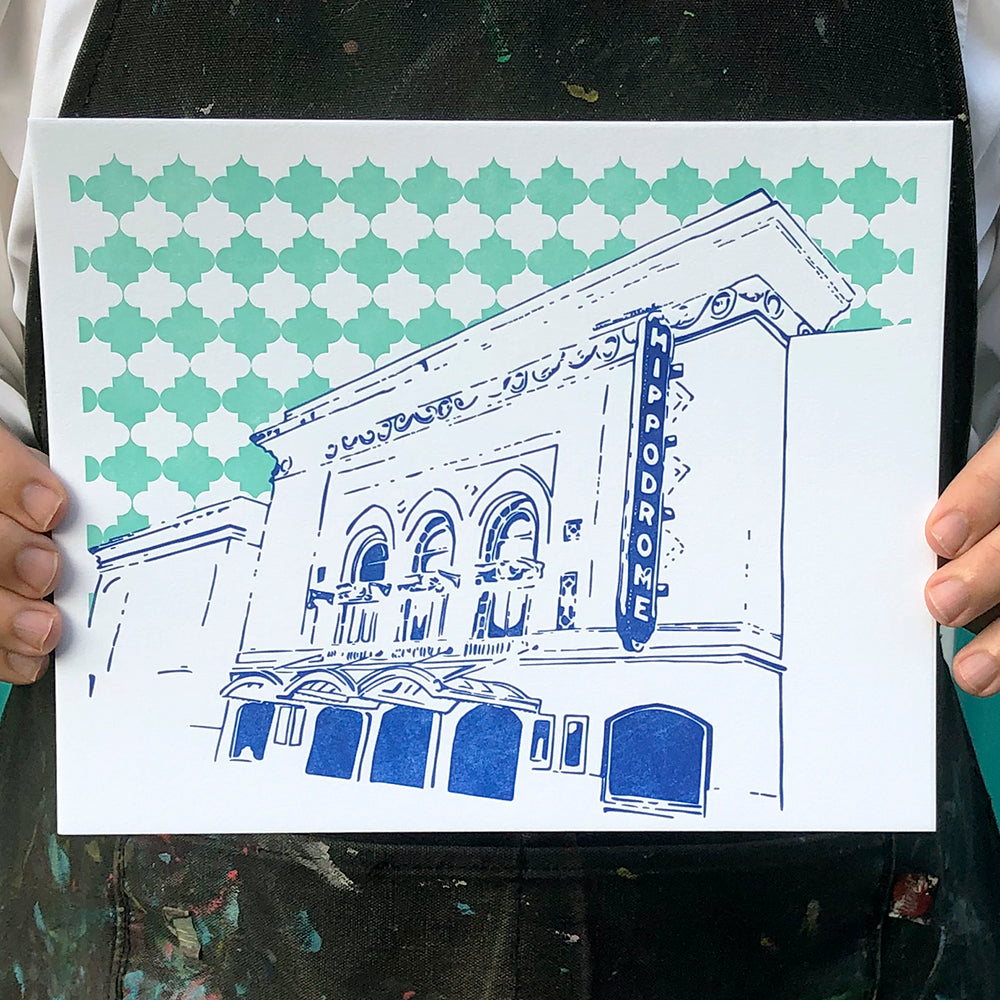 "Baltimore Maryland | Hippodrome | Letterpress 8""x10"" Poster"