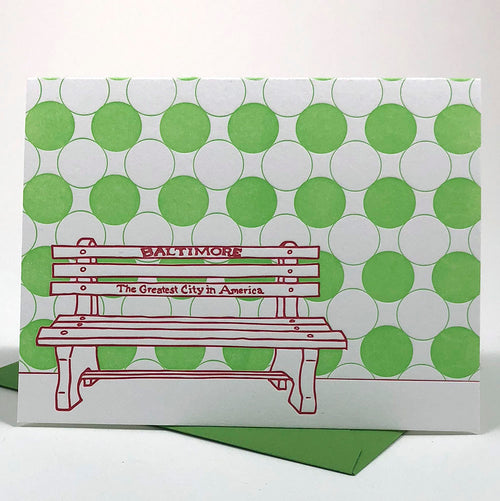 Baltimore Maryland | Greatest City In America Bench Holiday | Letterpress City Card