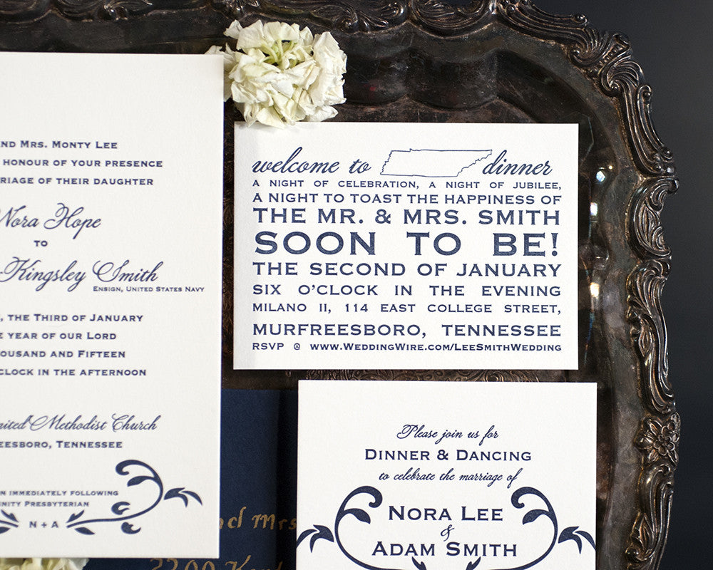 Letterpress Wedding Invitation Suite | Floral Vine