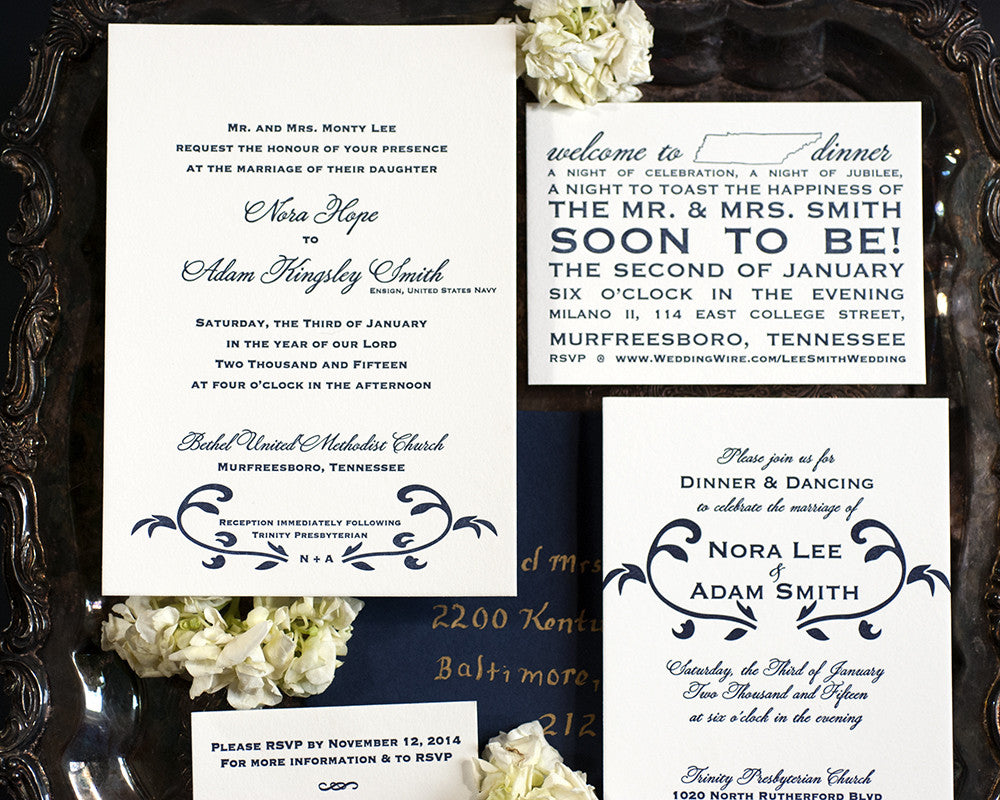 Floral Vine Wedding Invitation Suite