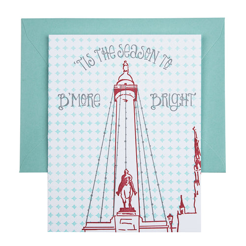Baltimore Maryland | Washington Monument Lighting | Letterpress City Card