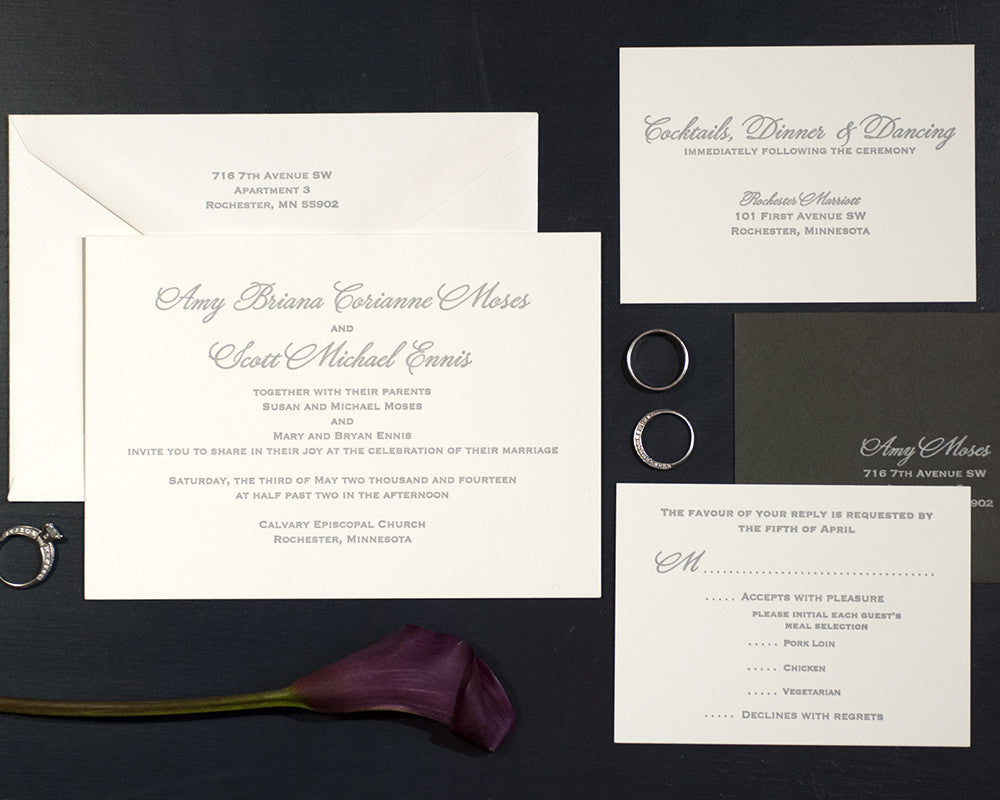 Letterpress Wedding Invitation Suite | Classic Wedding