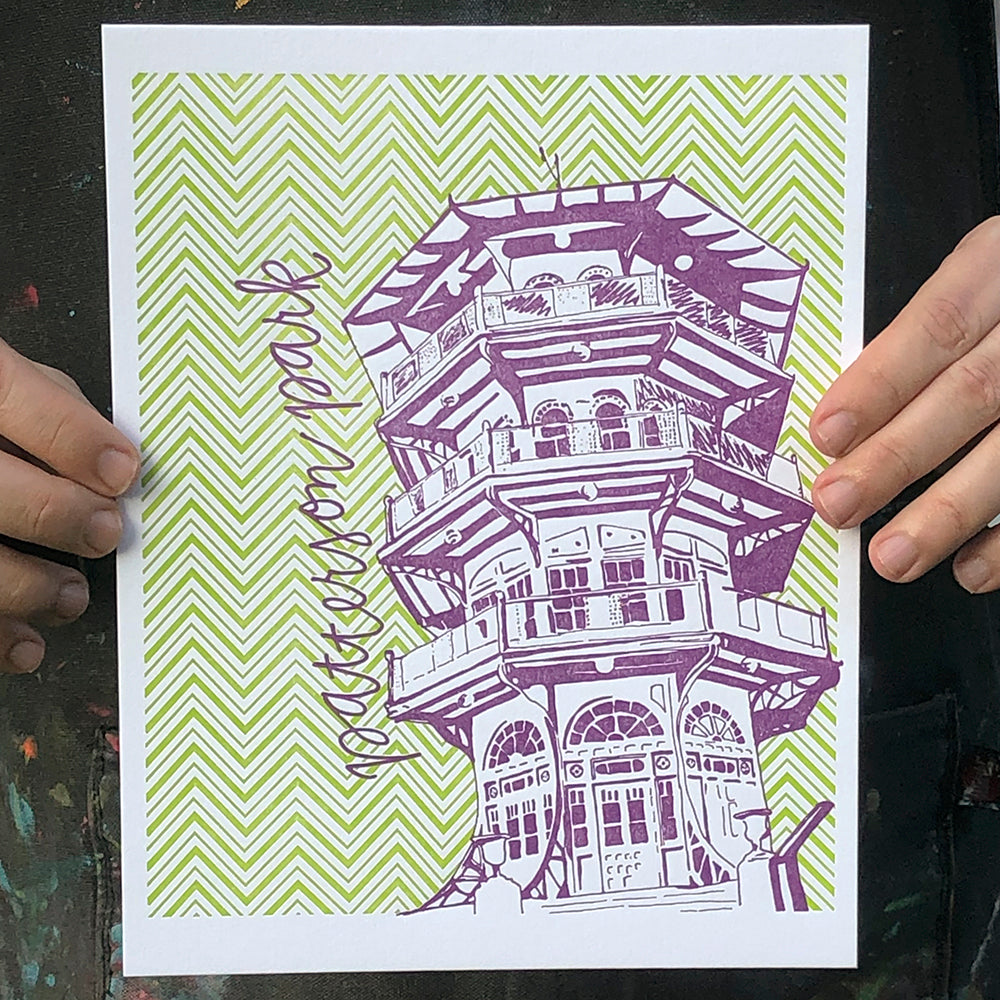 "Baltimore Maryland | Patterson Park Pagoda | Letterpress 8""x10"" Poster"