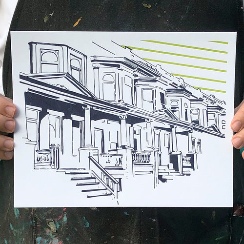 "Baltimore Maryland | Painted Lady of Abell Avenue | Letterpress 8""x10"" Poster"