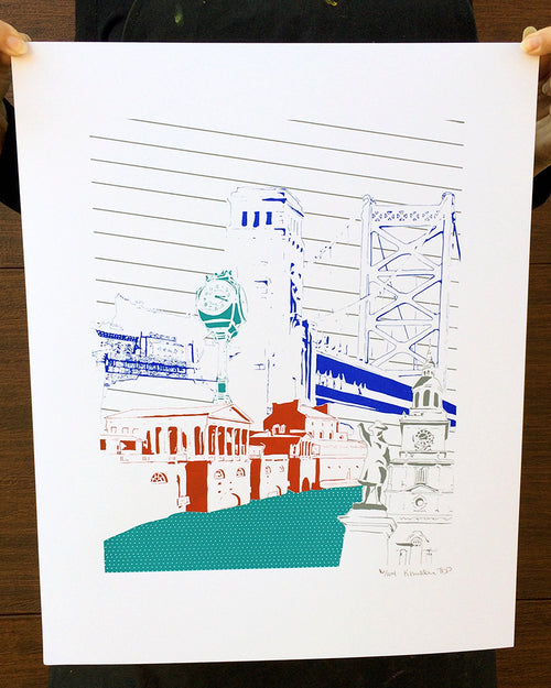 "Philadelphia Pennyslvania | Architecture City | Limited Edition Silk Screen 16"" x 20"" poster 