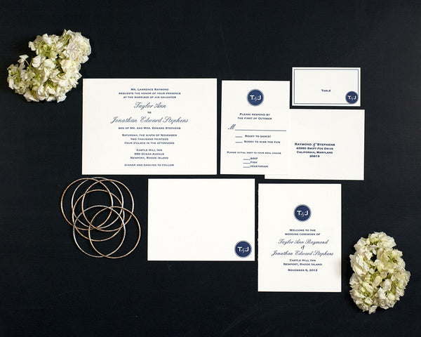 Modern Monogram Wedding Invitation Suite
