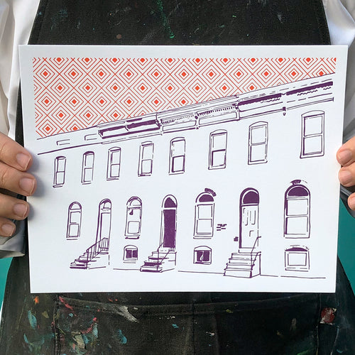 "Baltimore Maryland | Row House | Letterpress 8""x10"" Poster"