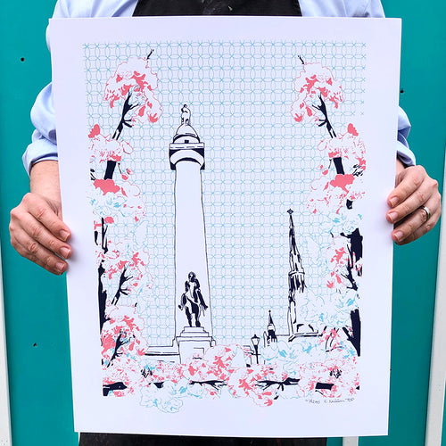 "Baltimore Maryland | Blooming Washington Monument | Limited Edition Silk Screen 16"" x 20"" poster"