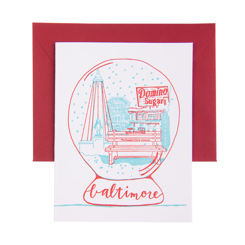 Baltimore Maryland | City Snow Globe | Letterpress City Card