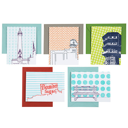 Baltimore Maryland | Baltimore Landmarks Pack of 5 Cards | Letterpress City Cards