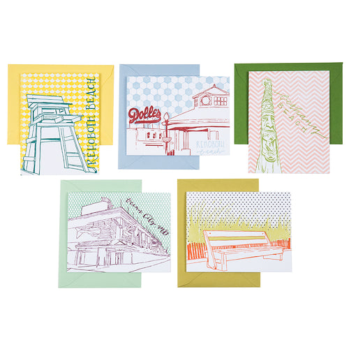Delaware Beach Towns | Beach Towns Pack of 5 Cards | Letterpress City Cards