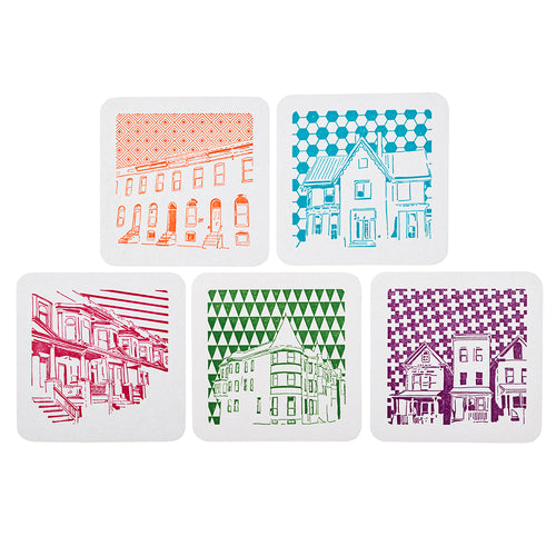 Baltimore Maryland | House Architecture | Letterpress Coasters Package of 5