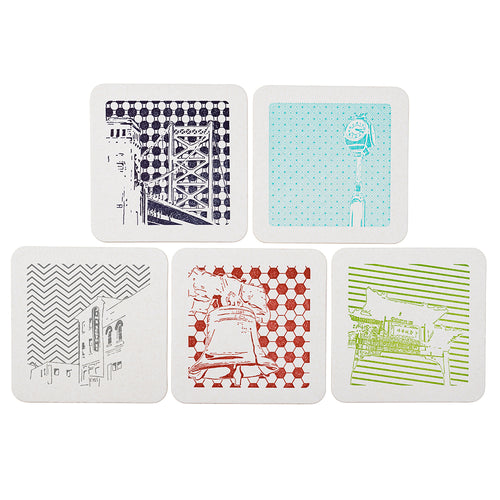 Philadelphia | Letterpress Coasters Package of 5