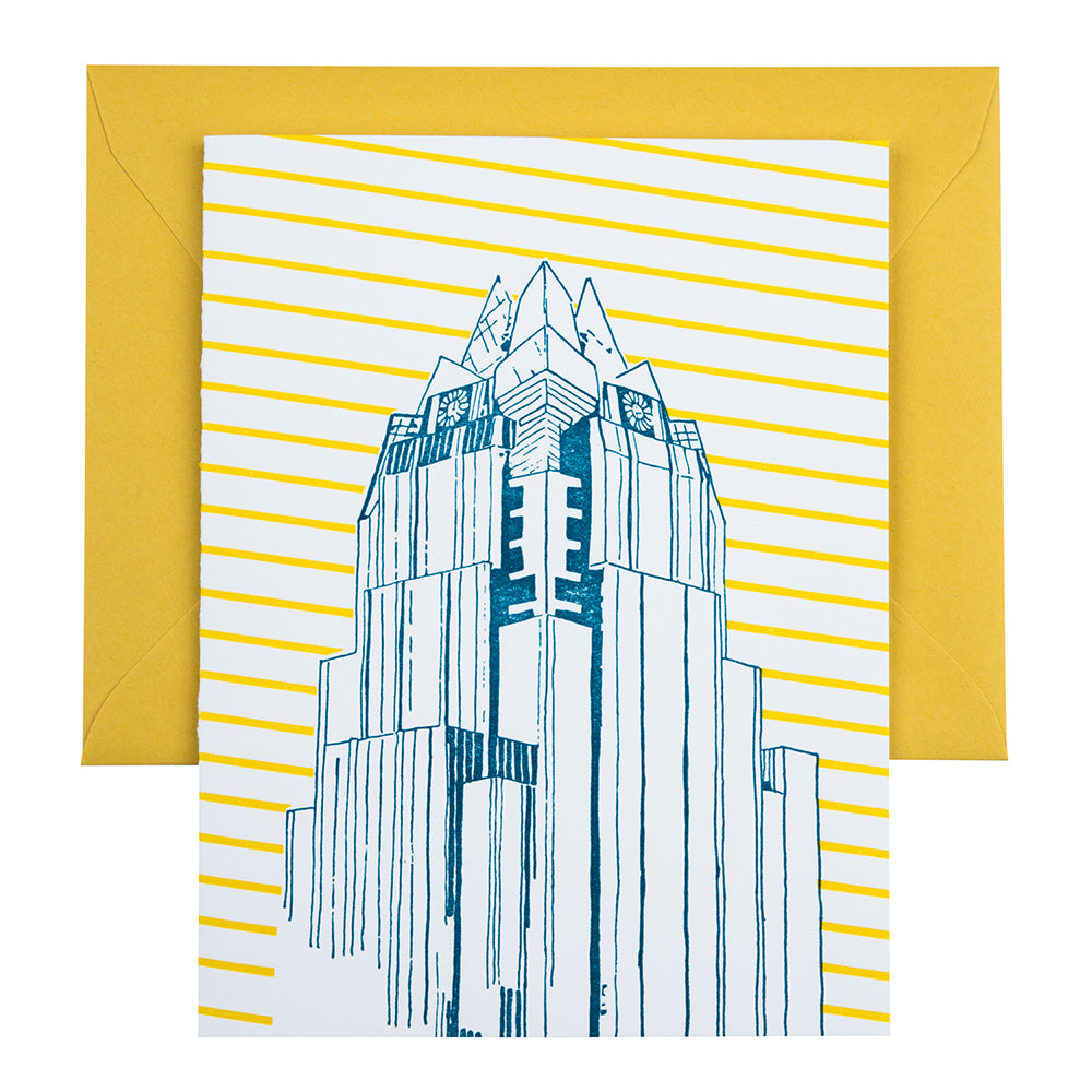 Austin Texas | Frost Bank Tower | Letterpress City Card