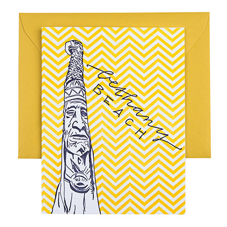 Bethany Beach Delaware | Totem Pole | Letterpress City Card