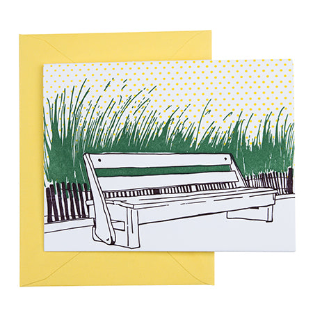 Rehoboth Beach Delaware | Boardwalk Bench | Letterpress City Card
