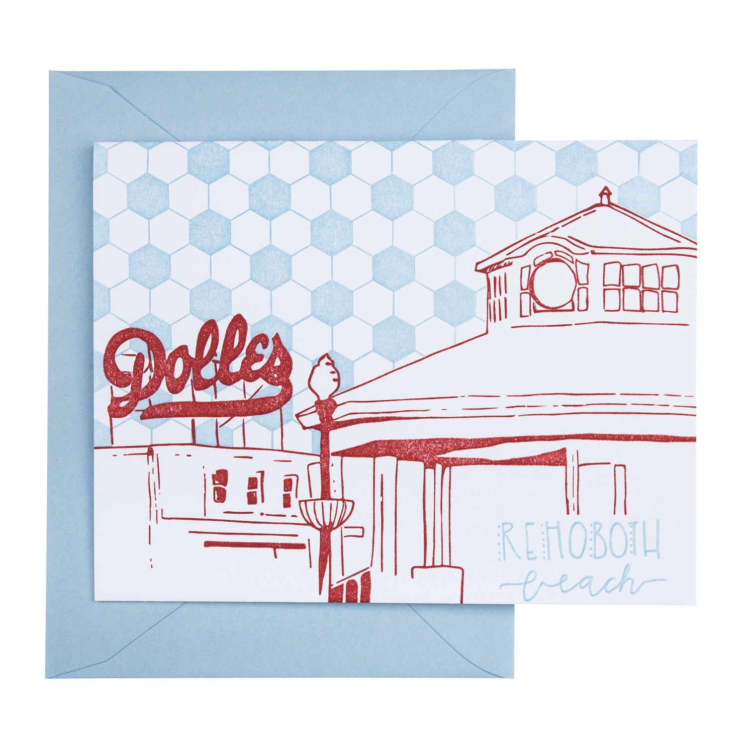 Rehoboth Beach Delaware | Boardwalk | Letterpress City Card