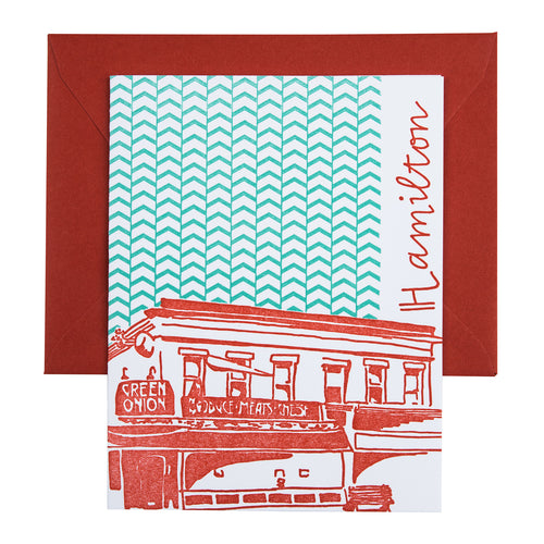 Baltimore Maryland | Green Onion Hamilton | Letterpress City Card | SALE