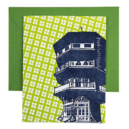 Baltimore Maryland | Patterson Park Pagoda | Letterpress City Card