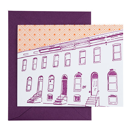 Baltimore Maryland | Row House | Letterpress City Card