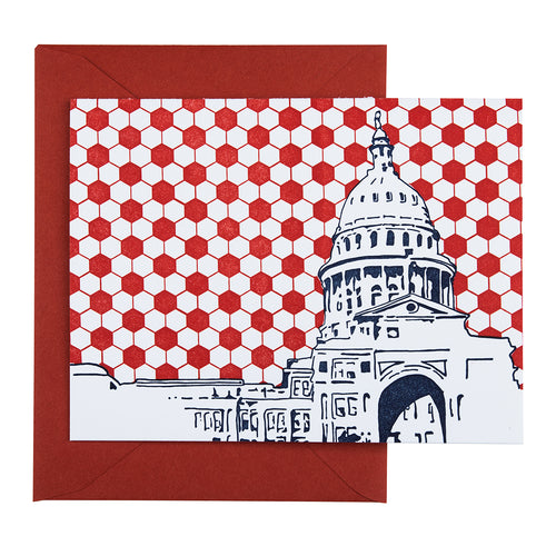 Austin Texas | Texas State Capitol Building | Letterpress City Card