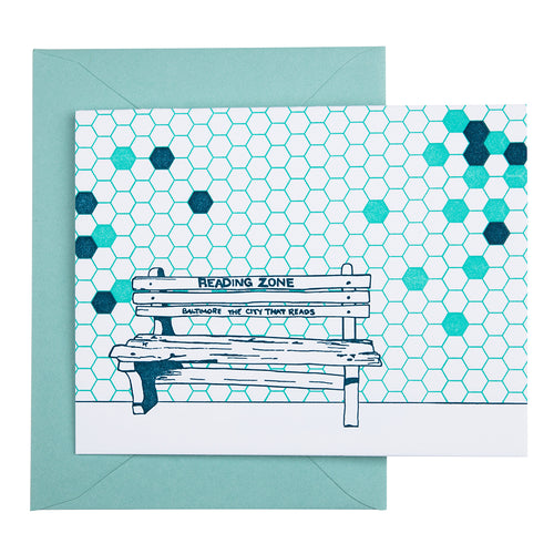 Baltimore Maryland | Reading Zone Bench | Letterpress City Card